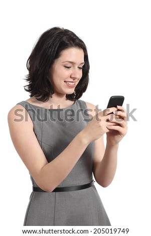 Young business woman using a smart mobile phone isolated on a white background - stock photo