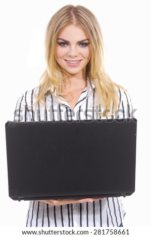 Young Business Woman Using Notebook - stock photo