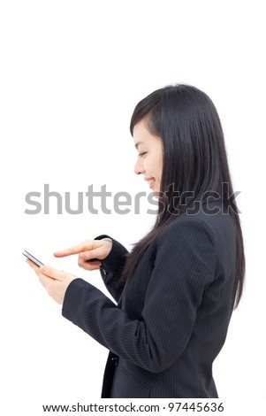 young business woman using smart phone, isolated on white background - stock photo