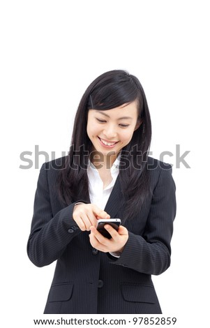 young business woman using smartphone, isolated on white background - stock photo