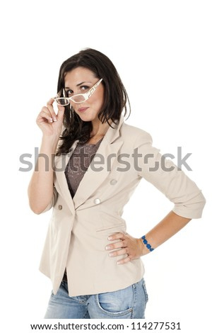 Young business woman wearing glasses