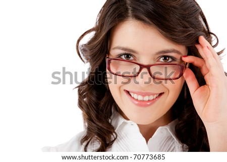 Young business woman wearing glasses- isolated over white