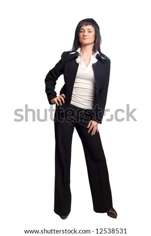 Young business woman wearing suite isolated on white