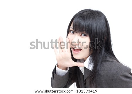young business woman whispering isolated on white background - stock photo