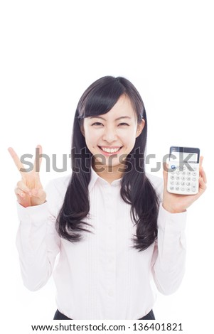 Young Business woman with a calculator isolated on white background - stock photo