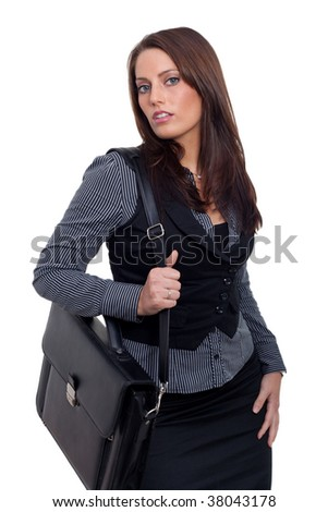 Young Business Woman with a handcase - stock photo