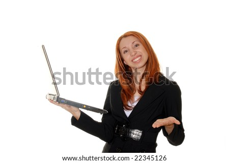 Young business woman with an open laptop