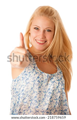 Young business woman with blonde hair and blue eyes gesturing success showing thumb up isolated over white - stock photo