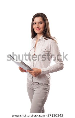 Young business woman with document folder, isolated on white background