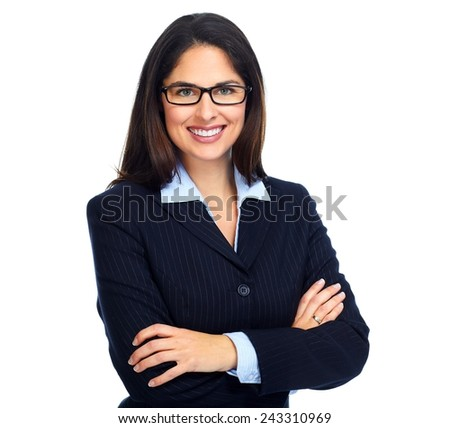 Young business woman with eyeglasses isolated white background. - stock photo