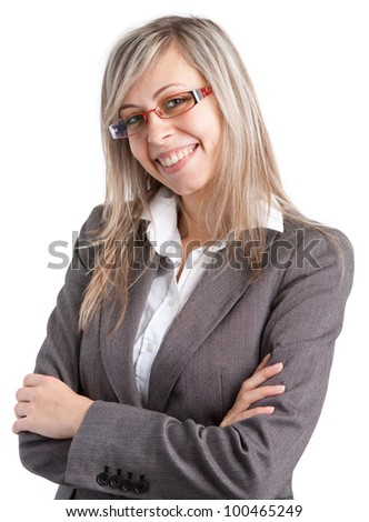 Young business woman with glasses on white background