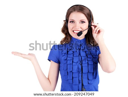 Young business woman with headset isolated on white - stock photo