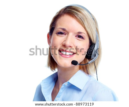 Young business woman with headset. Isolated over white background - stock photo