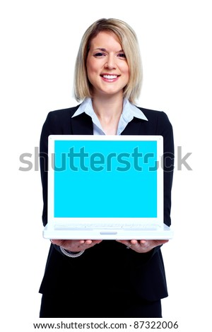 Young business woman with laptop computer. Isolated over white background - stock photo