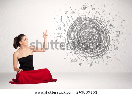 Young business woman with media doodle scribble concept - stock photo