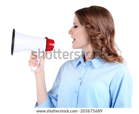 Young business woman with megaphone isolated on white - stock photo