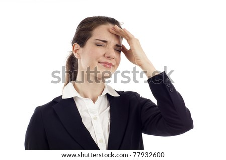 Young business woman with migraine headache isolated over white background - stock photo