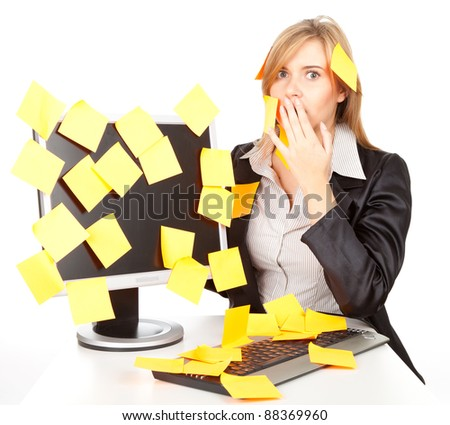 young business woman with stickers on computer, a lot of things to do - stock photo