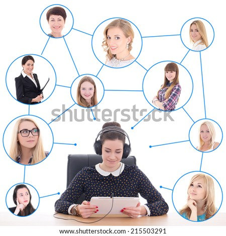 young business woman with tablet pc and her friends or clients isolated on white background - stock photo