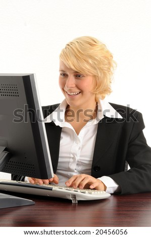 young business woman working in a modern office.