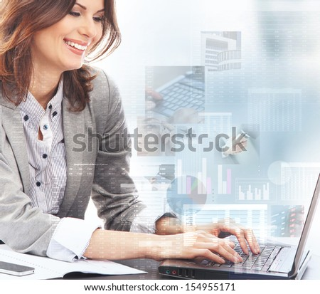 Young business woman working in digital interface