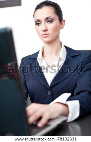young business woman working on computer in office - stock photo
