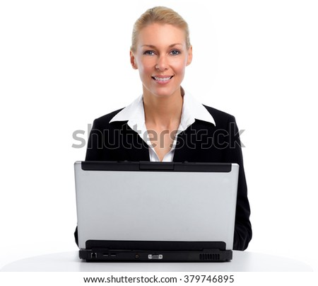 Young business woman working with laptop.
