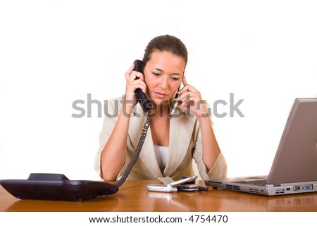 young business woman worry while talk by phone