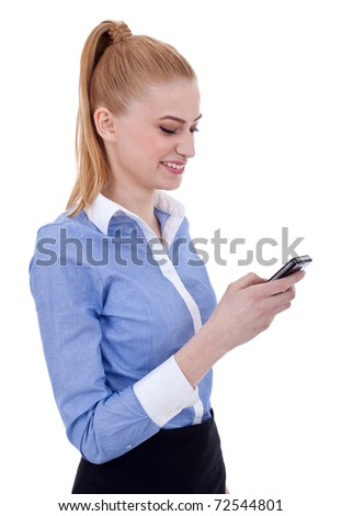 Young business woman writes a text message, isolated - stock photo