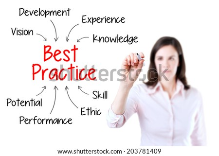 Young business woman writing best practice concept. Isolated on white background. - stock photo