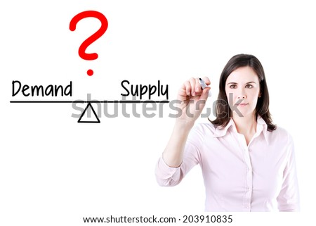 Young business woman writing demand and supply compare on balance bar. Isolated on white. - stock photo