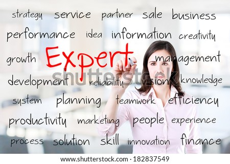 Young business woman writing expert concept. Office background. - stock photo