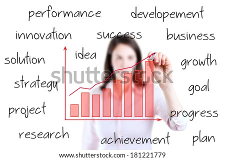 Young business woman writing growth graph with business related text, white background.  - stock photo