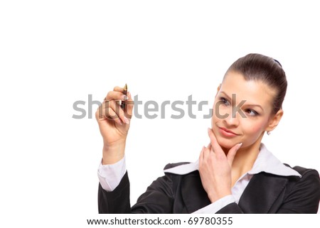 Young business woman writing on glass close up - stock photo
