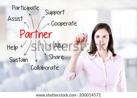 Young business woman writing partner concept. Office background.
