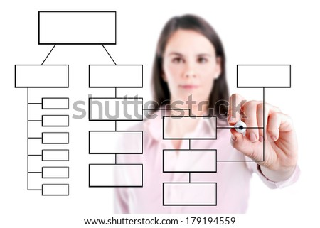 Young business woman writing process flowchart diagram on screen, isolated.