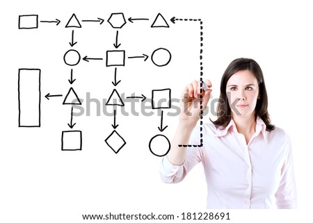 Young business woman writing process flowchart diagram on screen. Isolated on white. - stock photo