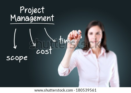 Young business woman writing project management concept. - stock photo