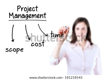 Young business woman writing project management concept, white background.  - stock photo