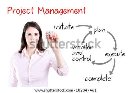 Young business woman writing project management workflow. Office background. - stock photo