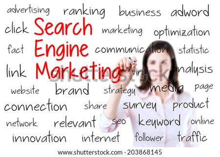 Young business woman writing search engine marketing concept. Isolated on white background. - stock photo