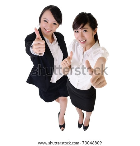 Young business women give you excellent sign, isolated on white. - stock photo
