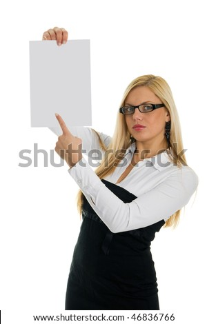 Young business women pointing at blank paper. Focus on finger. Isolated on white - stock photo