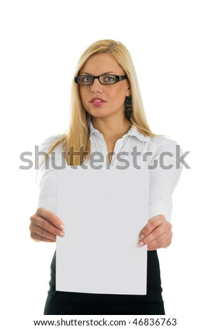 Young business women showing blank paper. Focus on paper. Isolated on white - stock photo