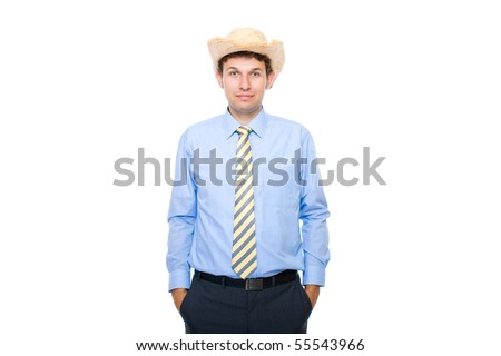 young businessam wears summer hat, holidays time, studio shoot isolated on white - stock photo