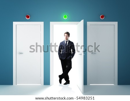 young businessman and 3 concept white 3d doors