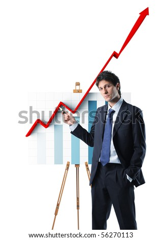 young businessman and growing 3d stat chart - stock photo