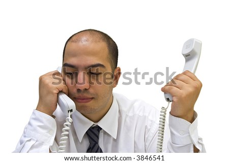 Young businessman answering the phones - stock photo