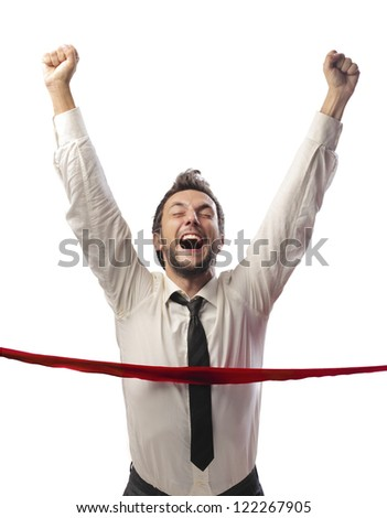 Young businessman breaking the line - stock photo