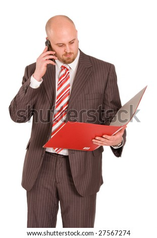 Young businessman calling by mobile phone - stock photo